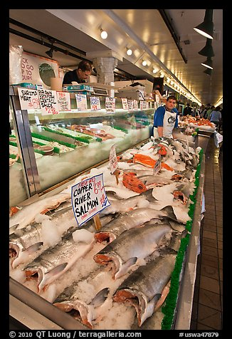 Fishmonger stall in Main Arcade. Seattle, Washington (color)