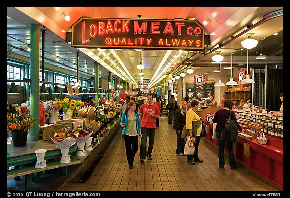 Main Arcade, Pike Place Market. Seattle, Washington (color)