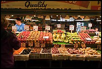 Fruit and vegetable stall, Pike Place Market. Seattle, Washington (color)