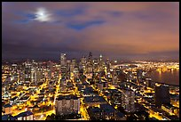Cityscape with moon. Seattle, Washington (color)