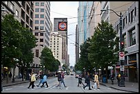 Pedestrian crossing and busses, downtown. Seattle, Washington ( color)