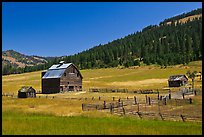 Barn and pasture in mountains. Washington ( color)