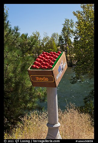 Sculpture of red apples box, Cashmere. Washington (color)