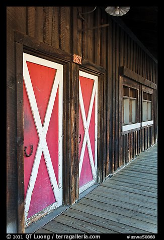 Painted doors and wood building, Winthrop. Washington (color)