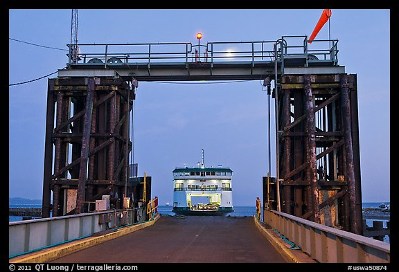 Ferry approaching through gate, Coupeville. Olympic Peninsula, Washington