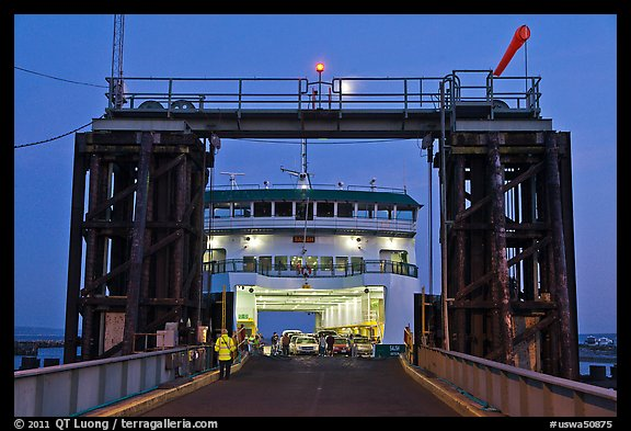 Ferry at dusk. Olympic Peninsula, Washington (color)