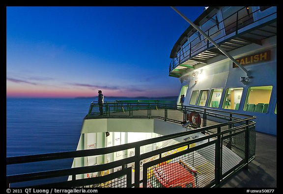 Port Townsend Coupeville Ferry upper deck at dusk. Olympic Peninsula, Washington (color)