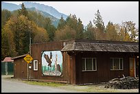 Wooden house with painted mural, Skagit Valley. Washington ( color)