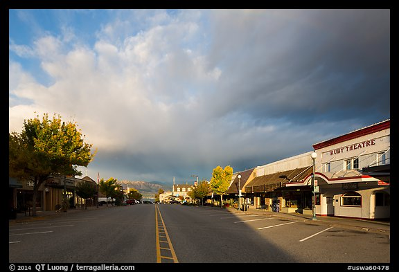 Main Street at sunrise, Chelan. Washington (color)