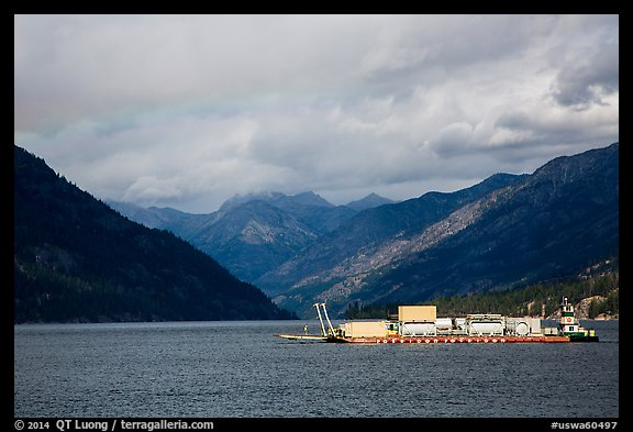 Barge and mountains, Lake Chelan. Washington (color)