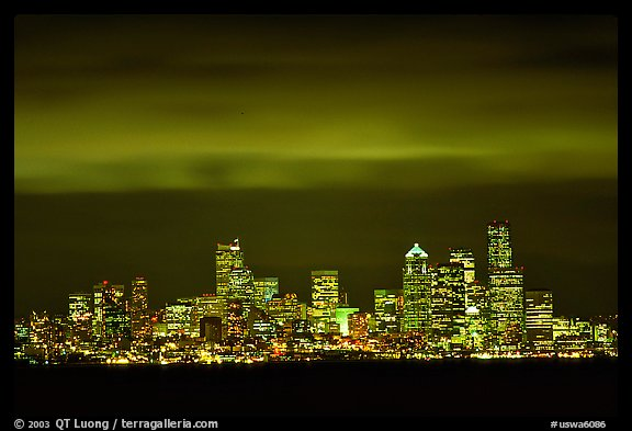 Seattle skyline at light from Puget Sound. Seattle, Washington (color)