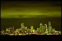 Seattle skyline at light from Puget Sound. Seattle, Washington