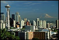 Seattle skyline with the Needle and Mt Rainier, afternoon. Seattle, Washington