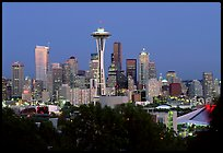 Seattle skyline at dusk. Seattle, Washington (color)