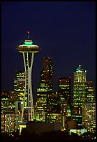 Seattle skyline at night with the Needle. Seattle, Washington (color)