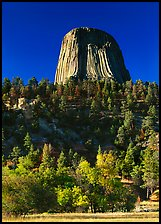Devils Tower in autumn, Devils Tower National Monument. Wyoming, USA (color)