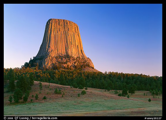 Phonolite porphyry monolith, sunset, Devils Tower National Monument. Wyoming, USA