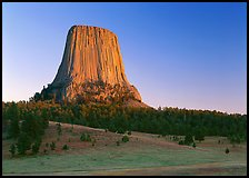 Phonolite porphyry monolith, sunset, Devils Tower National Monument. Wyoming, USA (color)