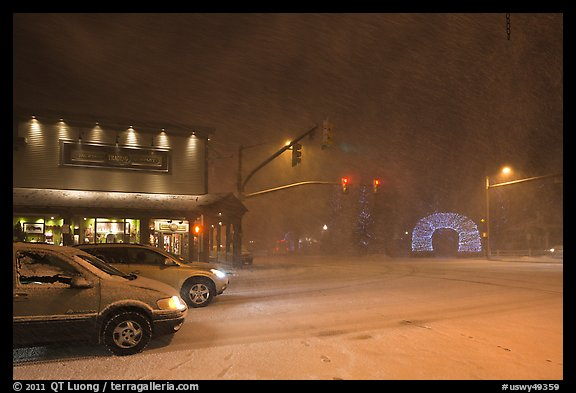 Street in snow blizzard by night. Jackson, Wyoming, USA