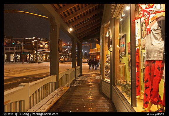 Storefront and gallery by night. Jackson, Wyoming, USA (color)