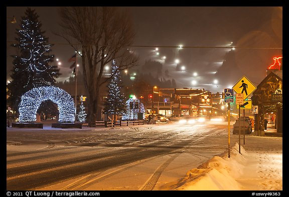 Street and town square with fresh snow by night. Jackson, Wyoming, USA (color)
