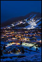 Town and Snow King ski hill from above at night. Jackson, Wyoming, USA ( color)