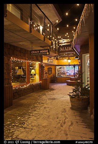 Shopping alley by night. Jackson, Wyoming, USA