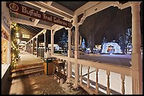 Gallery and Town Square lights, winter night. Jackson, Wyoming, USA (color)