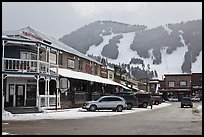 Town square stores and ski slopes in winter. Jackson, Wyoming, USA ( color)