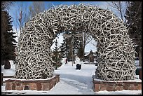 Antler Arch and Town Square in winter. Jackson, Wyoming, USA (color)