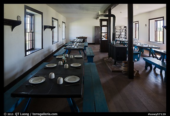Dinning room in Cavalry Barracks. Fort Laramie National Historical Site, Wyoming, USA (color)