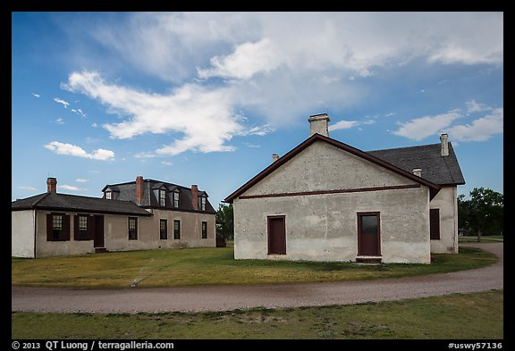 Colonel Quarters and Post Surgeon Quarters. Fort Laramie National Historical Site, Wyoming, USA (color)