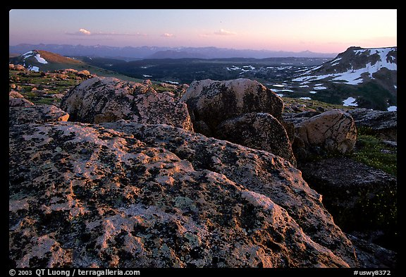 Rocks at sunset, Beartooth Range, Shoshone National Forest. Wyoming, USA