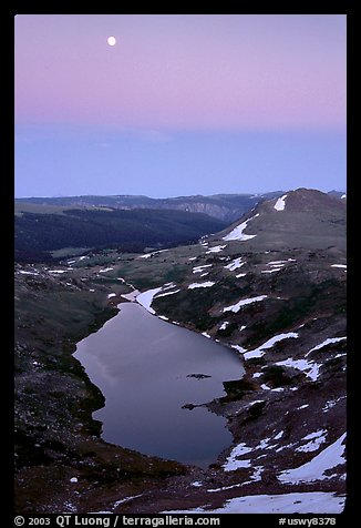 Lake and moon, dusk, Beartooth Range, Shoshone National Forest. Wyoming, USA