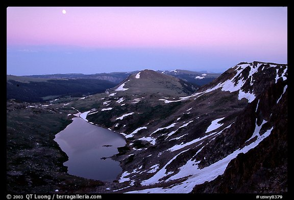 Alpine lake at dusk, Beartooth Mountains, Shoshone National Forest. Wyoming, USA (color)