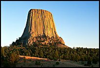 Monolithic igneous intrusion, Devils Tower National Monument. Wyoming, USA (color)