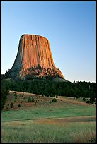 Devils Tower monolith at sunset, Devils Tower National Monument. Wyoming, USA (color)