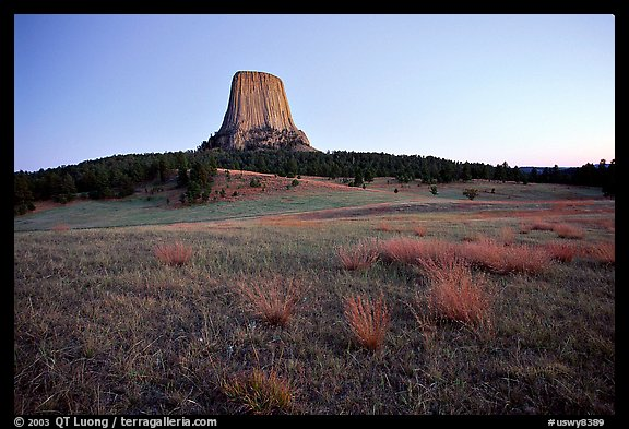 Devils Tower, sunset, Devils Tower National Monument. Wyoming, USA (color)