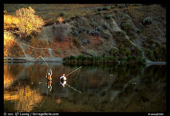 Fly fishermen, Snake River. Wyoming, USA
