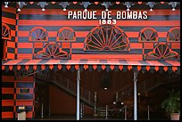 Parc De Bombas, a red and black striped historic firehouse, Ponce. Puerto Rico (color)