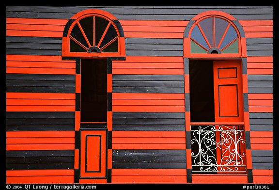 Red window shutters and striped walls, Parc De Bombas, Ponce. Puerto Rico (color)