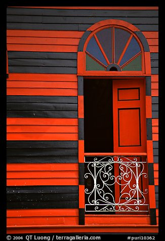 Window with red  shutters and striped walls,  Parc De Bombas, Ponce. Puerto Rico (color)