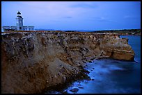 Lighthouse and cliffs at dusk, Cabo Rojo. Puerto Rico (color)