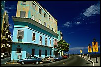 Multi-story building painted with pastel colors, old town. San Juan, Puerto Rico ( color)