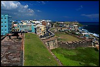 Street and El Morro Fortress. San Juan, Puerto Rico ( color)