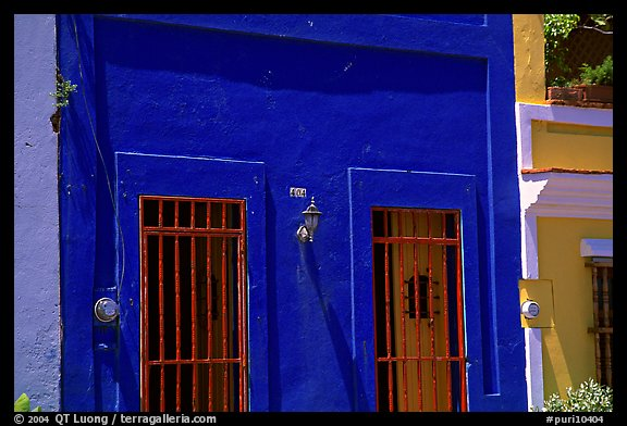 Doors and blue walls. San Juan, Puerto Rico (color)