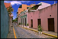 Cobblestone street and colorful houses, old town. San Juan, Puerto Rico