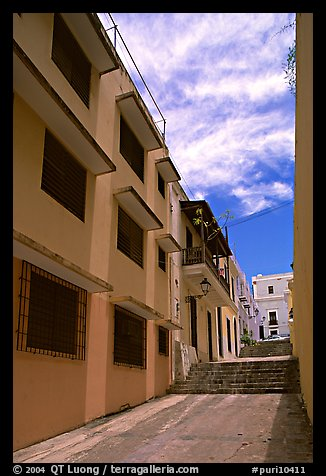 Passage with modern painted houses. San Juan, Puerto Rico (color)