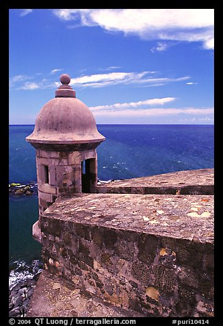 Lookout turret and ocean, El Castillo Del Morro Fortress. San Juan, Puerto Rico (color)