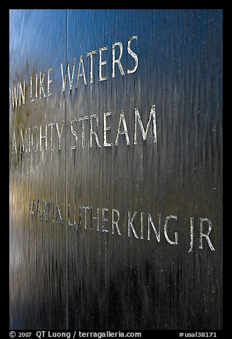 Words from bibical quote and Martin Luther King name, Civil Rights Memorial. Montgomery, Alabama, USA (color)